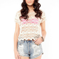 Crochet Short Sleeve Top in Ivory :: tobi