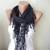 Dark blue Cotton Scarf with Lace by Periay on Etsy