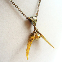 Harry Potter Golden Snitch Necklace   by ViperCoraraDesigns