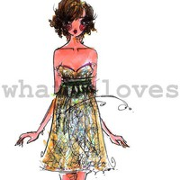fashion illustration print ella by whatHEloves on Etsy