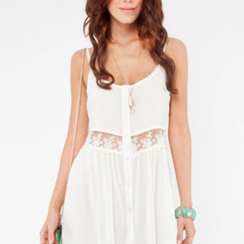 Daydreamin' Gauzy Tank Dress in Ivory ::Tobi