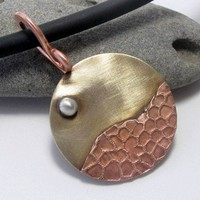 Handforged Moon over Mountains mixed metal pendant