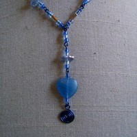 Denim Glass Heart Necklace by AthomicArtandDesign on Zibbet