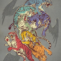 deviantART Seven Caged Tigers by artist *JrDragao Art Print New Llama