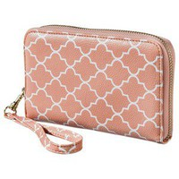 Merona® Lattice Print Zip Around Wallet With Strap - Orange