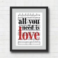 Lyrics Print - All You Need Is Love - 8x10 Beatles Sheet Music