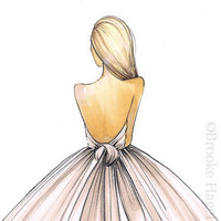 Gwen Bridal Fashion Illustration by BrooklitBride on Etsy