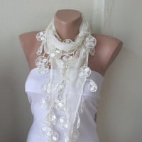 Cream ivory Cotton Scarf with Lace by Periay on Etsy