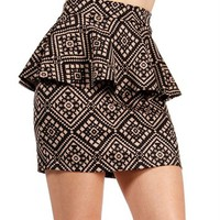 Black/Tan Tribal Print Peplum Skirt