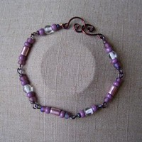 Clear Purple Bead Chain Bracelet by AthomicArtandDesign on Zibbet