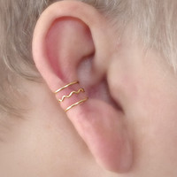 Goddess Ear Cuff Three Ringed Cuff with Scalloped Detail Non Pierced