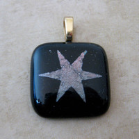 Star Glass Pendant Etched Dichroic Star Glass by mysassyglass