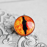 20mm handmade glass eye cabochon - orange reptile or dragon eye