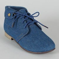 Breckelle Sandy-42 Denim Pocket Lace Up Bootie