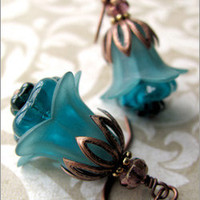 Teal Green Flower Blossom Earrings