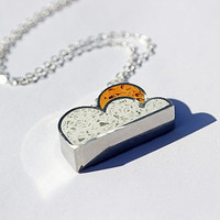 Storm Chaser Necklace - stormy weather, cloud, rainy day, cloud nine, sunshine, silver lining