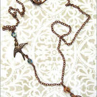 Free Bird Necklace with Bird Cage in  Antiqued Copper