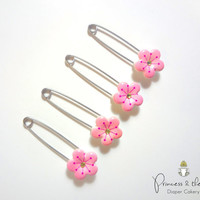 Pink Cherry Blossom Diaper Pins- Baby Shower, Flower, cloth diaper, diaper cover, Diaper Cake