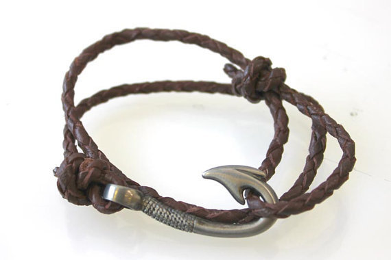 Fish hook bracelet braided leather by from vertini on etsy for Leather fish hook bracelet