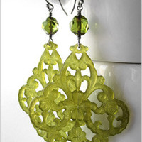 Olive Green Chandelier Earrings with Lucky Four Leaf Clover