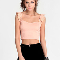 Sugared Peach Crop Top - $26.00 : ThreadSence, Women's Indie & Bohemian Clothing, Dresses, & Accessories