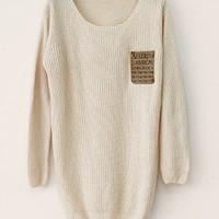 Beige Loose Sweater With Leather Packet