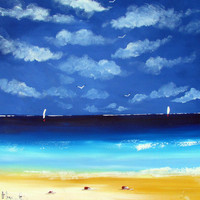 Blu Beach  Original  Acrylic Painting on Canvas by Borettoart