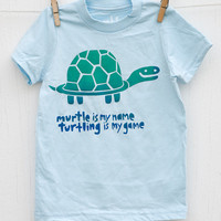 Murtle Turtle hand printed light blue kids tshirt by mumbletease
