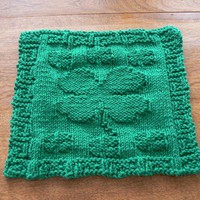 Hand Knit Emerald Green Four Leaf Clover Quilt Dishcloth or Washcloth