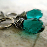 Green Earrings, Sterling Silver Jewelry, Crystal Quartz, Teal Green