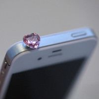 Kawaii PINK HEART RHINESTONE  Iphone Earphone by fingerfooddelight