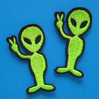 2 pcs Ironon Embroidered Patch Alien 175 inch by Nice2MeetU