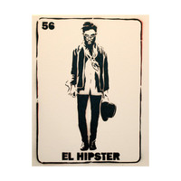 EL HIPSTER Loteria Original Artwork 11x14 Original Painting Graffiti Pop Art Mexican Culture Inspired Art on Canvas