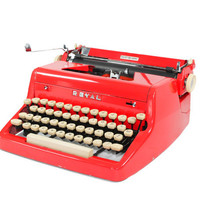Vintage 1955 Bright Red Royal Quiet De Luxe Manual Typewriter