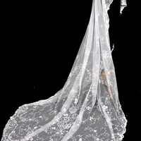 MAGNIFICENT Antique Brussels Lace Wedding Bridal Veil