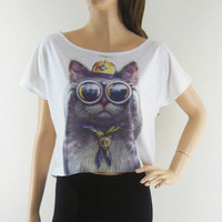 Cat Glasses Cat Design Bat Sleeve Women Shirt White T-Shirt Short Sleeve Screen Print Size M