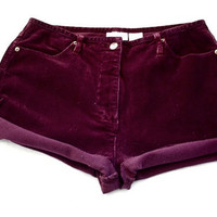 VTG Maroon high waisted corduroy shorts Large