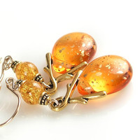 Amber Gold Earrings Golden Topaz Czech Glass Earrings Honey Orange Yellow Gold Vine Teardrop Earrings