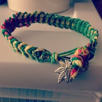 Wide Ganja Rasta Hemp Bracelet by xOnexLovexJewelry on Etsy