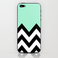 MINT GREEN COLORBLOCK CHEVRON iPhone & iPod Skin by nataliesales | Society6