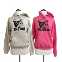 CAT Meow Hoodie - Cute Cat Lady Sweatshirt - Unisex Sizes S, M, L, XL - You Choose COLOR
