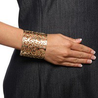 18k Gold over Stainless Steel Filigree Design Cuff Bracelet | Overstock.com