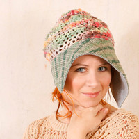 Crochet cloche Woman cloche Summer hat Summer cloche Blue pink hat Pink summer hat Knit cloche woman Crochet hat woman  Mint green hat