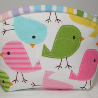 Birdy Coin Purse Quilted Zipper Pouch with Bird by KeriQuilts