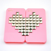 Fashion iPhone 4, 4S hard Case Cover with silver heart-shaped pyramid stud For iPhone 4 Case, iPhone 4S Case   -0011