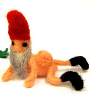 Gnome miniature needle felted naked      small needle by nodsu