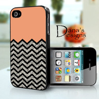 peach with black and silver Chevron - iPhone 4S and iPhone 4 Case Cover