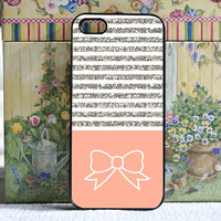 iPhone 5 case white silver stripes with peach and bow - iPhone 5 Snap On Case Cover