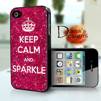 Keep calm and sparkle - hot pink - iPhone 4S and iPhone 4 Case Cover