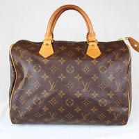 Authentic Louis Vuitton Speedy30 Monogram Brown Boston Hand Bag #0816 on eBay!